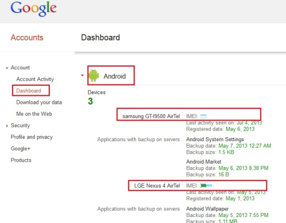 IMEI from Google-Dashboard
