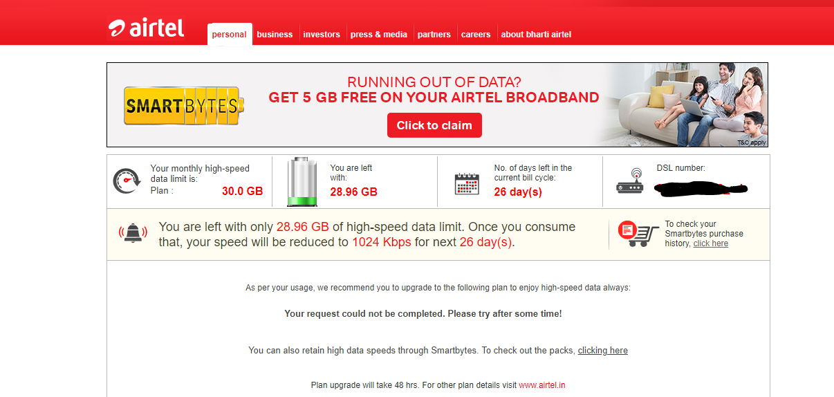 airtel broadband data usage