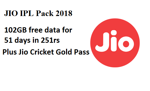 Jio IPL Pack 2018 102GB data and watch IPL matches